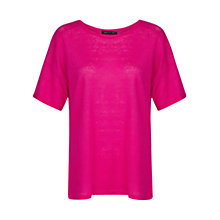 Buy Mango Linen T-Shirt, Bright Pink Online at johnlewis.com