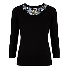 Buy Ted Baker Blithe Embellished Neckline Jumper, Black Online at johnlewis.com