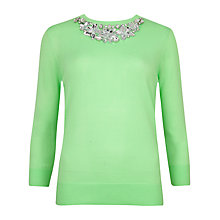 Buy Ted Baker Tascha Neon Embellished Neckline Jumper, Bright Green Online at johnlewis.com