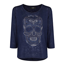 Buy Mango Skull Devore T-Shirt, Navy Online at johnlewis.com