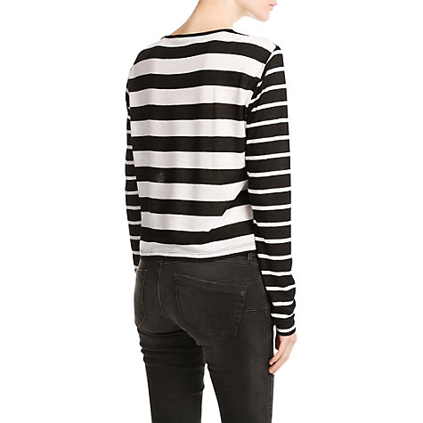 Buy Mango Monochrome Striped T-Shirt, Black Online at johnlewis.com