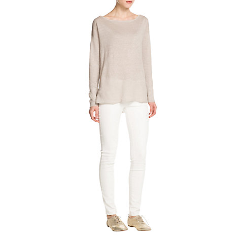 Buy Mango Linen Jumper, Light Beige Online at johnlewis.com