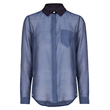Buy Mango Tencel Blend Shirt, Dark Blue Online at johnlewis.com
