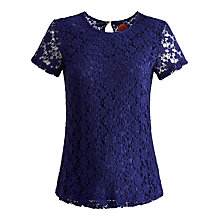 Buy Joules Lace Lissy Top, Navy Online at johnlewis.com