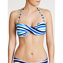 Buy John Lewis Watercolour Stripe Bandeau Bikini Top, Multi Blue Online at johnlewis.com