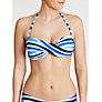 John Lewis Watercolour Stripe Bandeau Bikini Top, Multi Blue