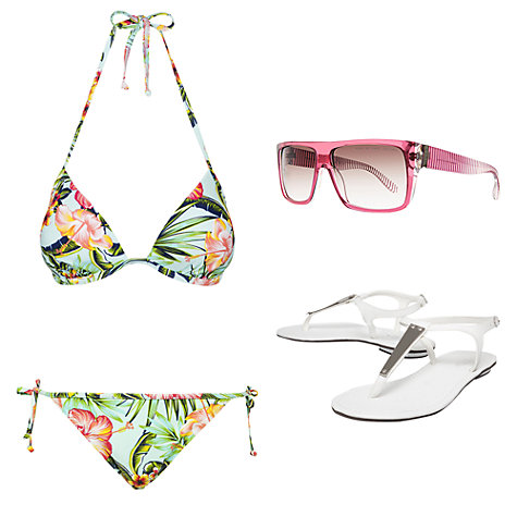 Buy John Lewis Hawaii Floral Triangle Bikini Top, Multi Online at johnlewis.com