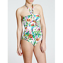 Buy John Lewis Parrot Print Control Bandeau Swimsuit, Multi Online at johnlewis.com