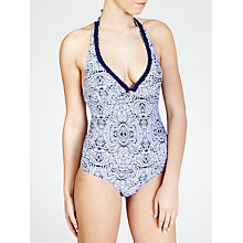 Buy John Lewis Paisley Plait Halter Swimsuit, Navy / White Online at johnlewis.com