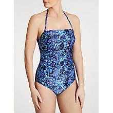 Buy John Lewis Lizard Print Control Bandeau Swimsuit, Blue Online at johnlewis.com