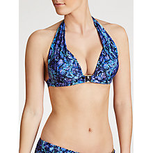 Buy John Lewis Lizard Print Triangle Bikini Top, Blue Online at johnlewis.com