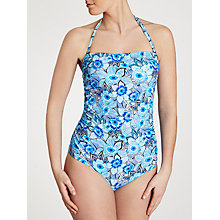 Buy John Lewis Tribal Floral Control Bandeau Swimsuit, Multi Blue Online at johnlewis.com
