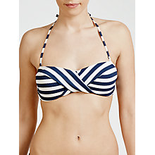 Buy John Lewis Textured Nautical Stripe Bandeau Bikini Top, Navy / White Online at johnlewis.com