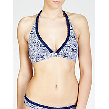 Buy John Lewis Paisley Plait Halter Bikini Top, Navy / White Online at johnlewis.com