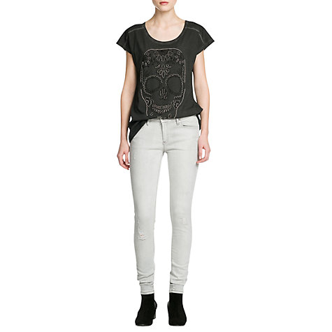 Buy Mango Super Slim Fit Distressed Jeans, Grey Denim Online at johnlewis.com