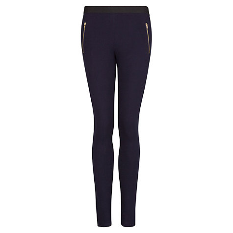 Buy Mango Zip Leggings, Navy Online at johnlewis.com