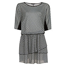 Buy Mango Printed Ruffled Dress, Black Online at johnlewis.com