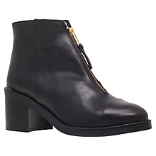 Buy KG by Kurt Geiger Spencer Leather Front Zip Ankle Boots, Black Online at johnlewis.com