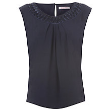 Buy Jacques Vert Monique Cornelli Trim Top, Blue Online at johnlewis.com