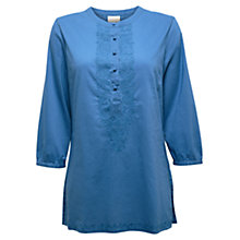 Buy East Embroidered Nehru Shirt, Cornflower Online at johnlewis.com