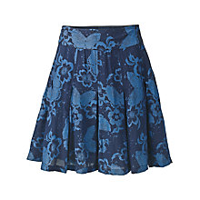 Buy Fat Face Butterfly Pleat Skirt, Indigo Online at johnlewis.com