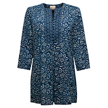 Buy East Swirl Kurta Top, Indigo Online at johnlewis.com