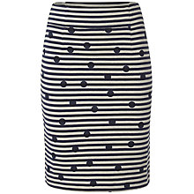 Buy White Stuff Mono Stripe Spot Skirt, Dark Ink Online at johnlewis.com