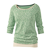 Buy Fat Face Peacock Print Jumper, Moss Online at johnlewis.com