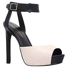 Buy KG by Kurt Geiger Hayley Leather Court Shoes, Black/ White Online at johnlewis.com