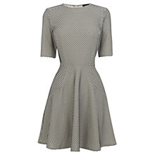 Buy Warehouse Spot Jacquard Dress, Black / Cream Online at johnlewis.com