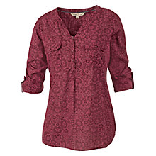 Buy Fat Face Mollie Floral Geo Popover Top, Rouge Online at johnlewis.com