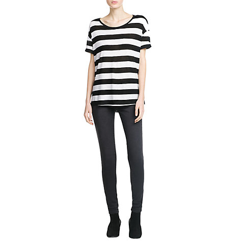 Buy Mango Striped Linen T-Shirt, Black Online at johnlewis.com