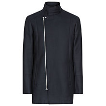 Buy Reiss Rockwell Asymmetric Zip Coat, Navy Online at johnlewis.com