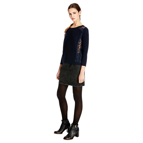 Buy Warehouse Mesh Lace Tuck Stitch Jumper Online at johnlewis.com