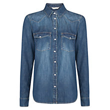 Buy Mango Dark Wash Denim Shirt, Navy Online at johnlewis.com