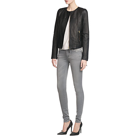 Buy Mango Leather Bomber, Black Online at johnlewis.com