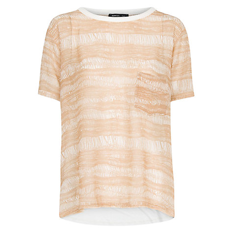 Buy Mango Contrast Back T-Shirt, Natural White Online at johnlewis.com