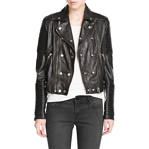 Buy Mango Leather Biker Jacket, Black Online at johnlewis.com