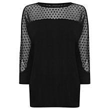 Buy Warehouse Spot Mesh Sleeve Top, Black Online at johnlewis.com