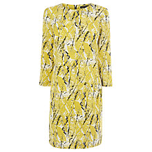 Buy Warehouse Textured Print Dress, Yellow Online at johnlewis.com