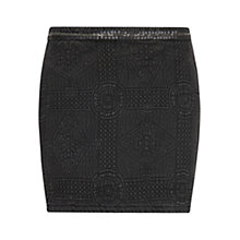 Buy Mango Textured Trim Skirt, Dark Grey Online at johnlewis.com