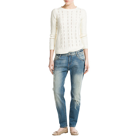 Buy Mango Lonny Dark Wash Boyfriend Jeans, Light Pastel Blue Online at johnlewis.com
