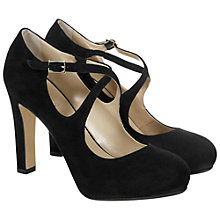 Buy Hobbs Fae High Heel Cross Over Strap Court Shoes, Black Suede Online at johnlewis.com
