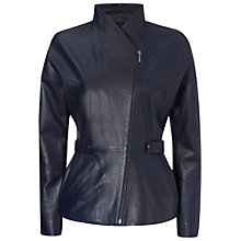 Buy Jaeger Waisted Leather Jacket, Navy Online at johnlewis.com
