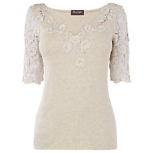 Buy Phase Eight Louisa Lace Knit Jumper, Pebble Online at johnlewis.com