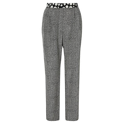 Buy Whistles Chevron Print Silk Mix Trousers, Grey Online at johnlewis.com