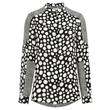 Buy Whistles Spot Chevron Silk Shirt, Black Online at johnlewis.com
