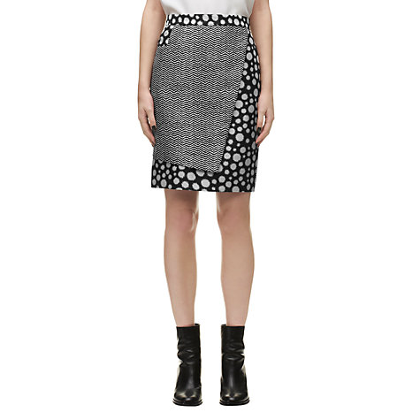 Buy Whistles Junya Spot Chevron Print Skirt, Grey Online at johnlewis.com