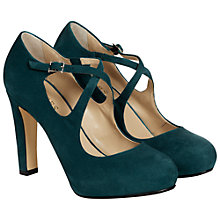 Buy Hobbs Fae High Heel Cross Over Strap Court Shoes, Loch Green Online at johnlewis.com