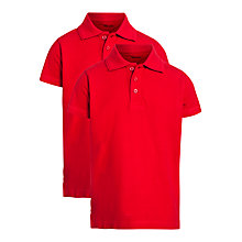Buy John Lewis Unisex Polo Shirt, Pack of 2, Red Online at johnlewis.com